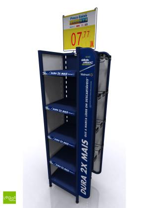 SIDEKICK-TEKSKINA-WALMART-CABECEIRA-PRATELEIRA-GILLETTE-PEG-EXPOSITOR-METAL-LEGAS-DISPLAYS